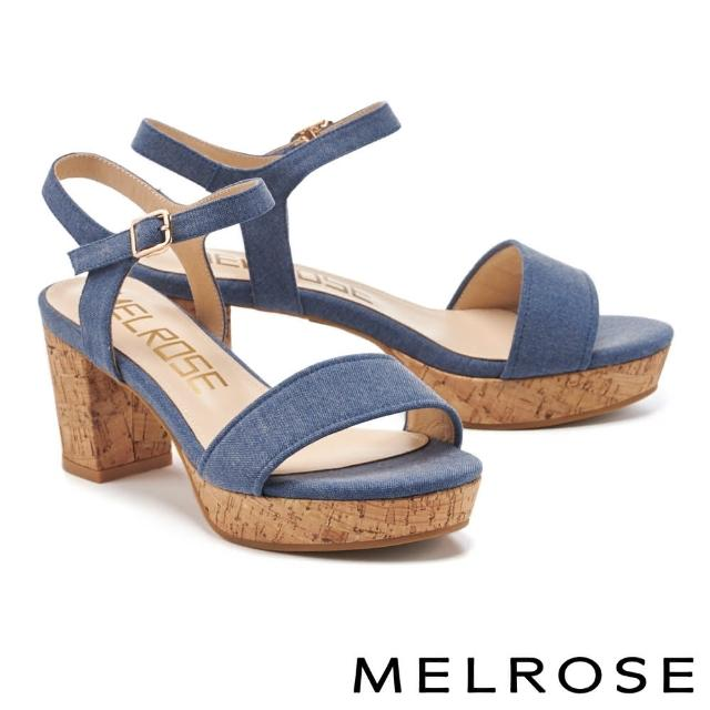 【MELROSE】簡約休閒風棉麻布一字粗高跟涼鞋(藍)