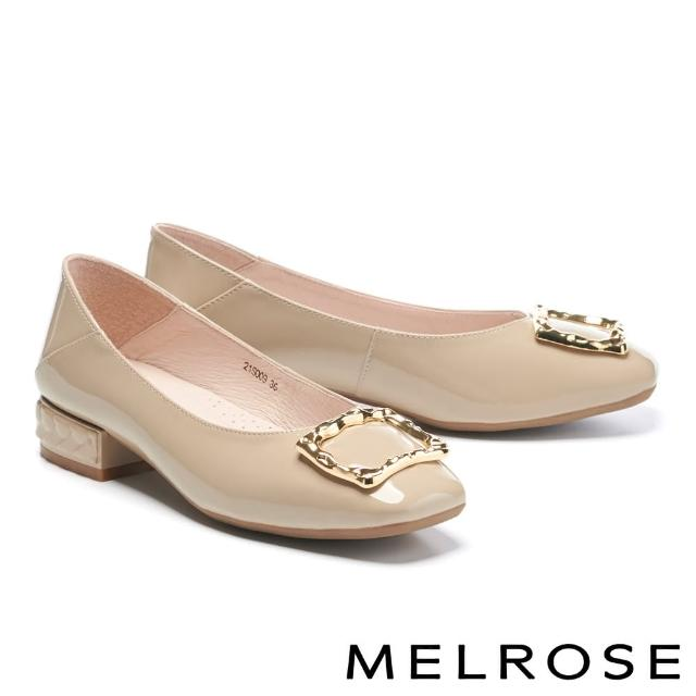 【MELROSE】復古質感金屬方釦全真皮方頭低跟鞋(杏)