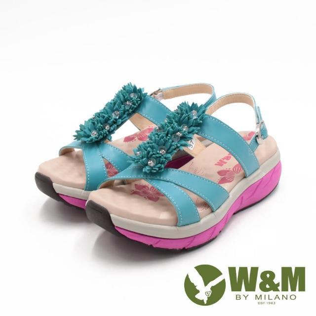 【W&M】女 FIT健走健碩彈力增高涼鞋 女鞋(淺藍)