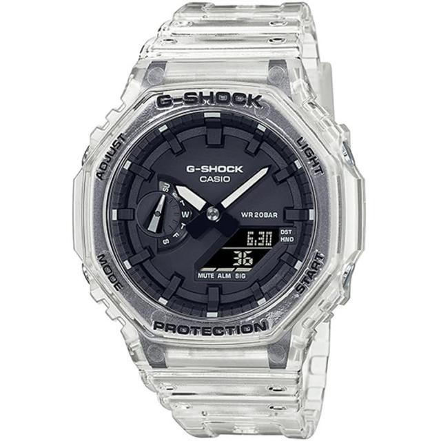 【CASIO 卡西歐】G-SHOCK 八角農家橡樹半透冰塊雙顯手錶(GA-2100SKE-7A)