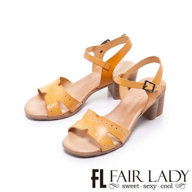 【FAIR LADY】盛夏 PORRONET 植鞣皮革寬帶粗跟涼鞋(土黃、222375)
