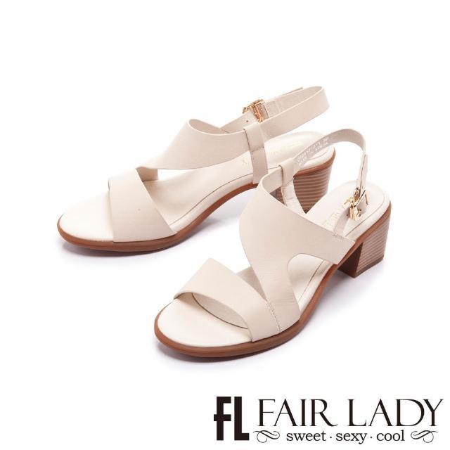 【FAIR LADY】盛夏 Z型原色後拉帶粗跟涼鞋(亞麻、222417)