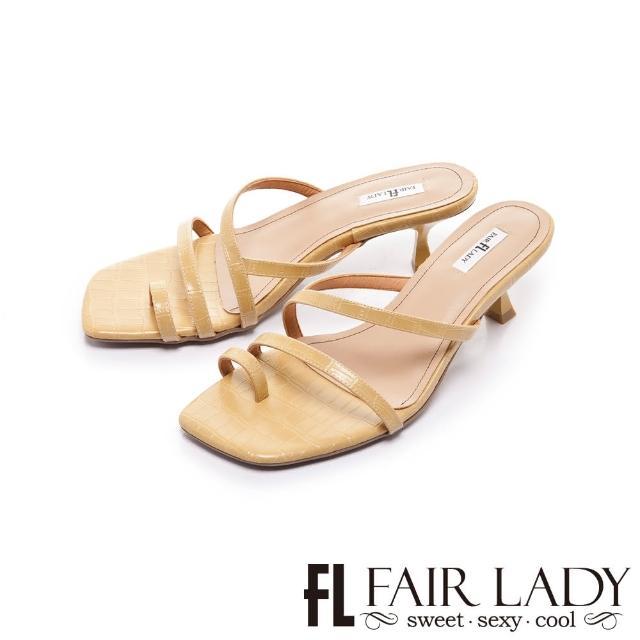 【FAIR LADY】初夏 簡約線條趾環小貓跟涼拖鞋(乳酪、202402)