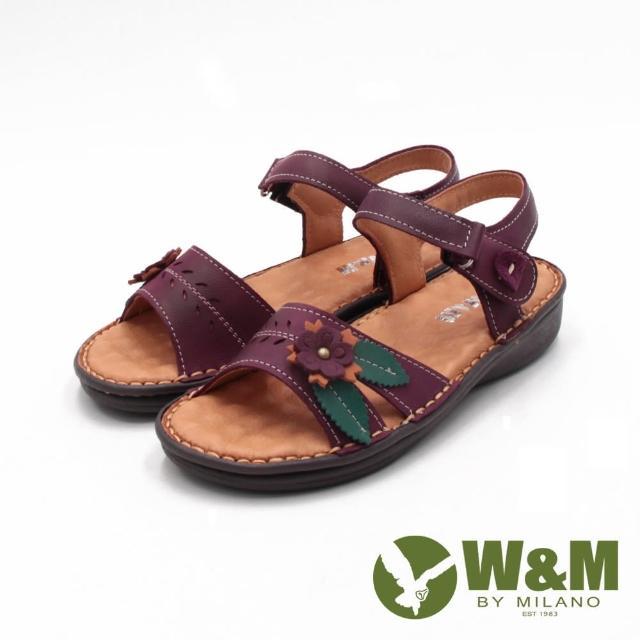【W&M】女 霧感皮革黏釦帶 厚底休閒涼鞋 女鞋(深紫)