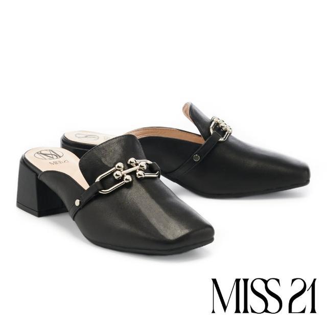 【MISS 21】復古時尚造型釦方頭粗高跟穆勒拖鞋(黑)