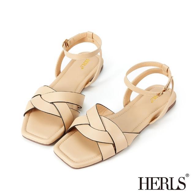【HERLS】涼鞋-麻花編織方頭繞踝平底涼鞋(奶茶色)