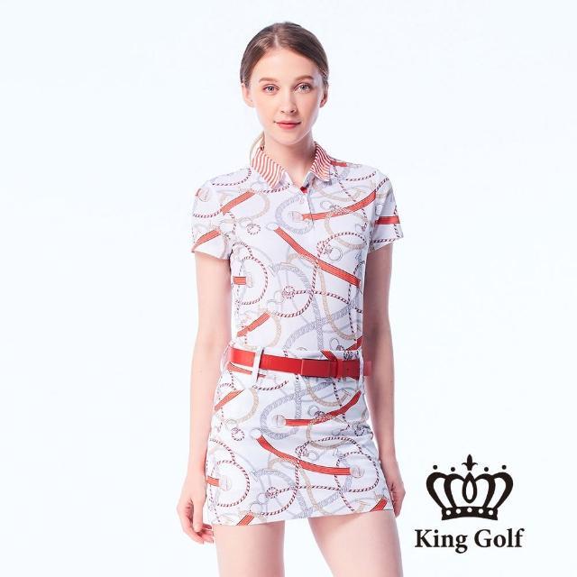 【KING GOLF】女款鎖鏈印花LOGO條紋領片涼感短袖POLO衫(白色)