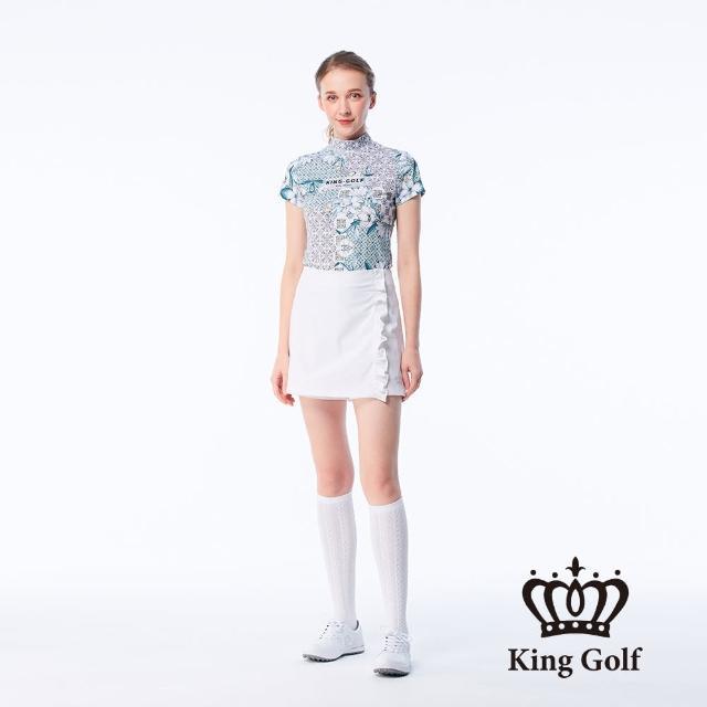 【KING GOLF】女款歐式花朵菱格紋印花LOGO印圖涼感小立領上衣(綠色)