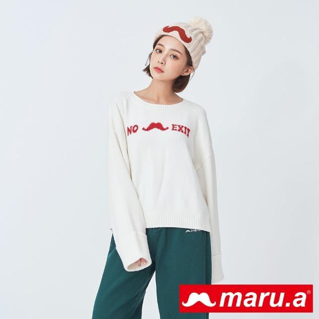 【maru.a】胸前圖案百搭針織上衣(米白)