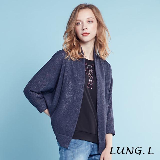 【LUNG.L 林佳樺】LH68C#灰藍色銀蔥針織罩衫#