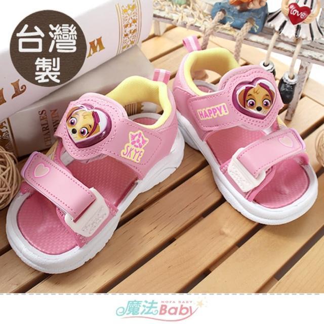 【魔法Baby】女童鞋 台灣製汪汪隊立大功授權正版閃燈涼鞋 電燈鞋(sk1186)