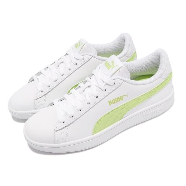 【PUMA】休閒鞋 Smash v2 L 復古 女鞋 皮革鞋面 基本款 百搭 穿搭推薦 白 綠(36521526)