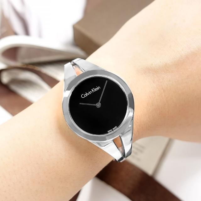 【Calvin Klein 凱文克萊】優雅時尚 鏤空設計 手環式 不鏽鋼手錶 黑色 31mm(K7W2S111)