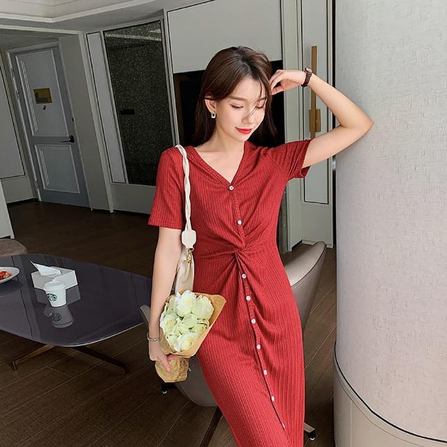 【女神婚紗禮服店】針織V領短袖包臀洋裝 提貨券(兩色可選 包團顯瘦 小禮服 洋裝)