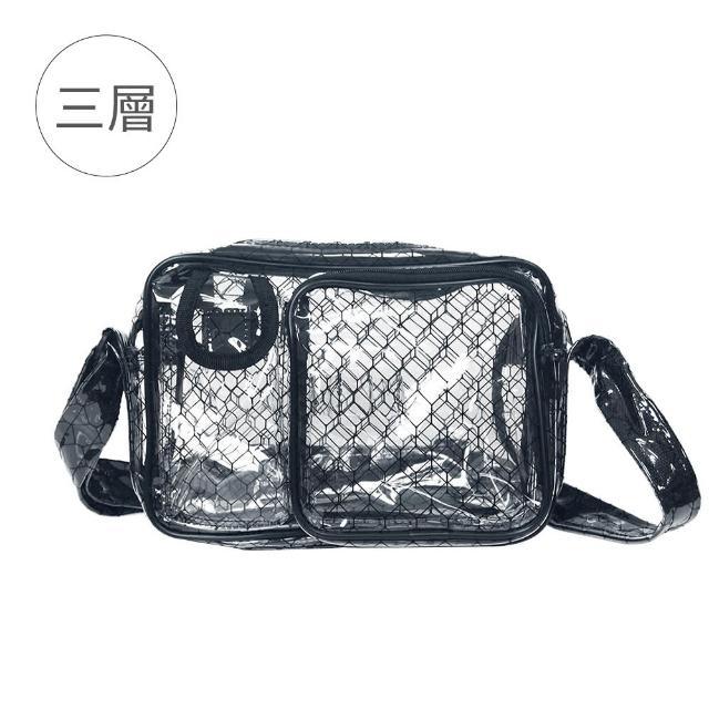 【大船回港】三層黑格紋透明小側背包(高科技產業/抗靜電/無塵室包/工具包/工作包)