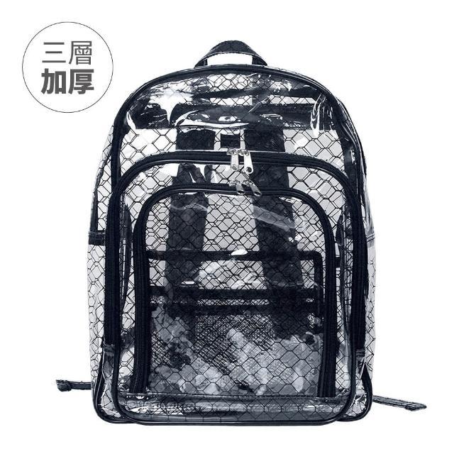 【大船回港】加厚三層黑格紋透明雙肩後背包 SH623(高科技產業/抗靜電/無塵室包/工具包/工作包)