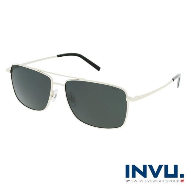 【INVU】瑞士俐落感方框飛行員偏光太陽眼鏡(金 B1120C)