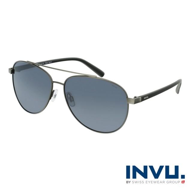【INVU】瑞士頂極簡約飛行員偏光太陽眼鏡(鐵灰 B1123B)