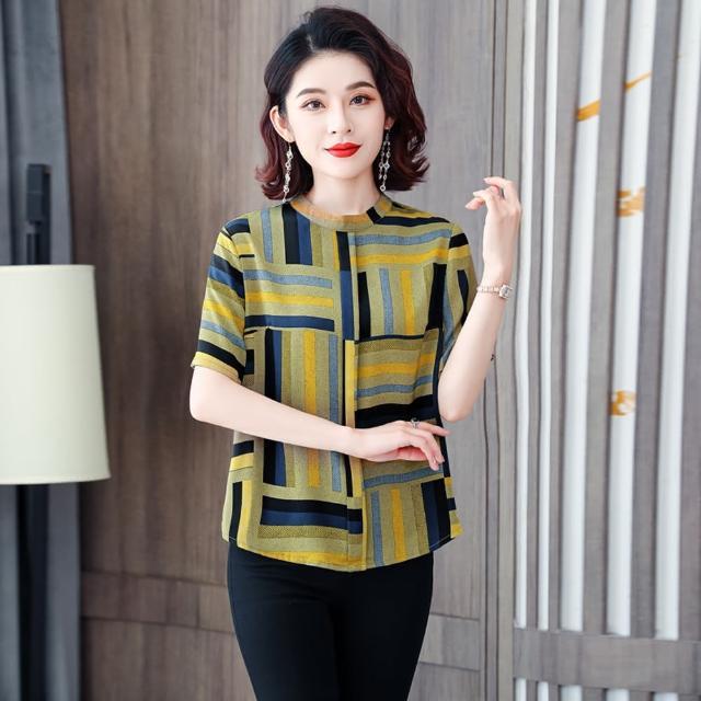 【ALLK 歐楷】幾何雪紡衫上衣 共2色(尺寸L-XXL)