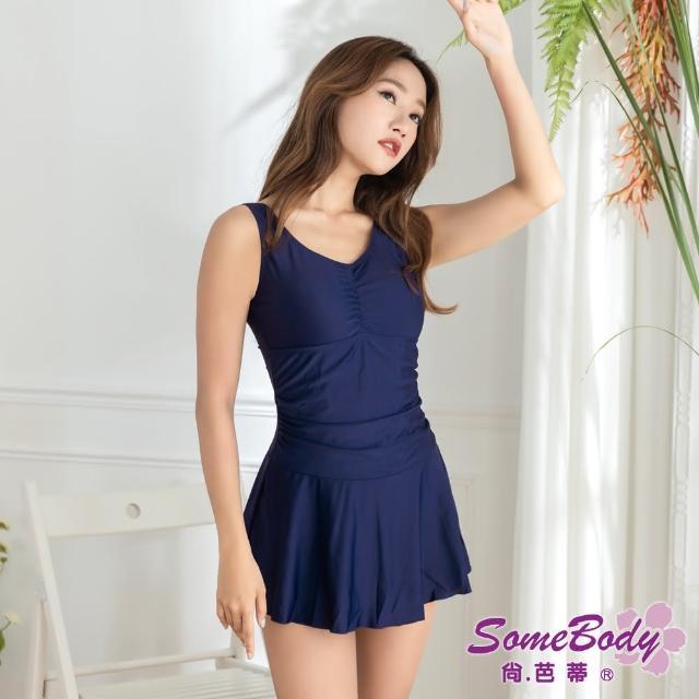 【尚芭蒂】大尺碼M -3L素雅修身遮肚褲裙式連身泳裝-附泳帽(藍色)