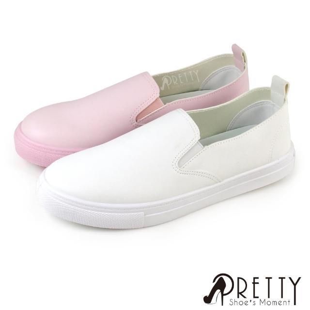 【Pretty】淡雅小清新圓頭平底休閒鞋/懶人鞋/小白鞋(粉紅、白色)