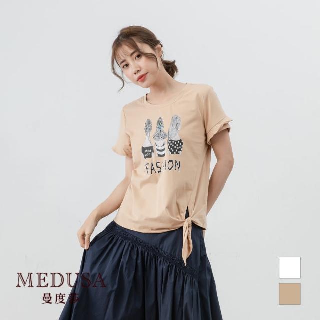 【MEDUSA 曼度莎】純棉 女孩背影綁結 Tee(M-2L) 休閒 T-shirt 純棉T 休閒穿搭(601-12901)