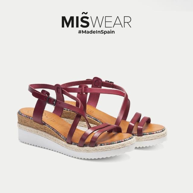 【MISWEAR】Porronet 真皮一字繞帶楔型涼鞋-暗紅