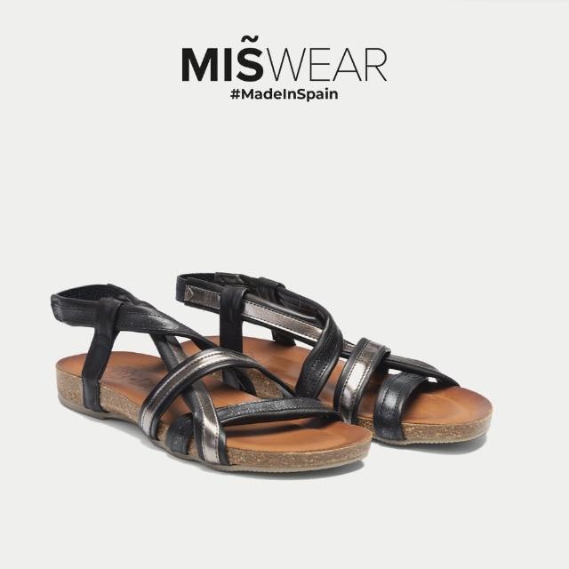 【MISWEAR】Porronet 多色亮面不對稱交叉涼鞋-黑色