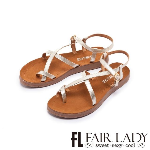 【FAIR LADY】盛夏 光澤感細帶繞趾平底涼鞋(金、102410)