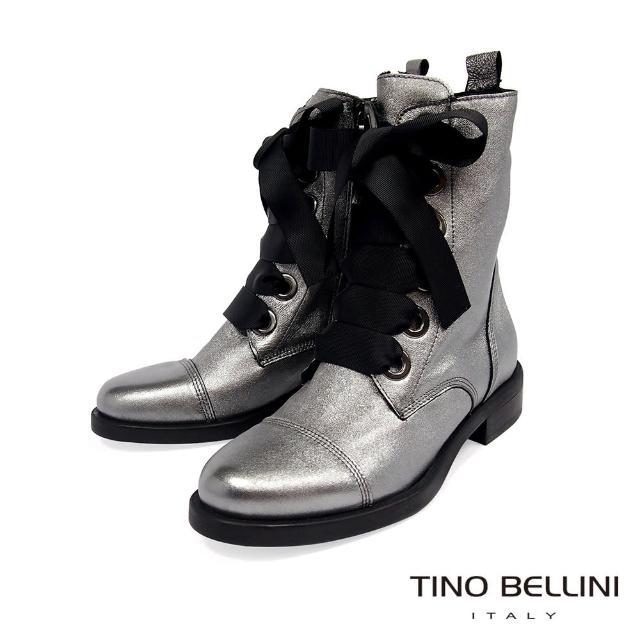 【TINO BELLINI 貝里尼】義大利進口酷炫全真皮綁帶短靴VI8534(銀)