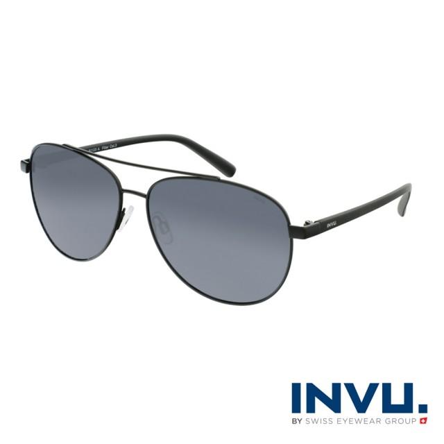 【INVU】瑞士頂極簡約飛行員偏光太陽眼鏡(啞光黑 B1123A)