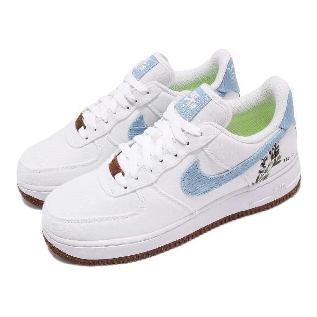 【NIKE 耐吉】休閒鞋 Air Force 1 07 運動 女鞋 經典款 刺繡植物圖案 簡約 球鞋 穿搭 白 藍(CZ0269-100)
