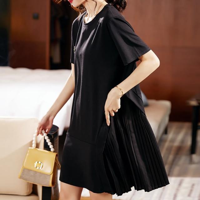 【麗質達人】7586黑色百摺短袖洋裝(L-5XL)