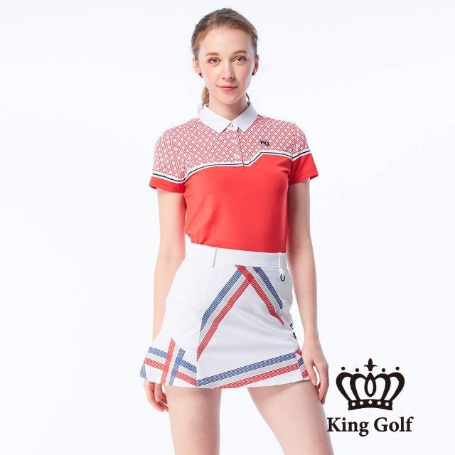 【KING GOLF】女款幾何印花線條撞色涼感短袖POLO衫(紅色)