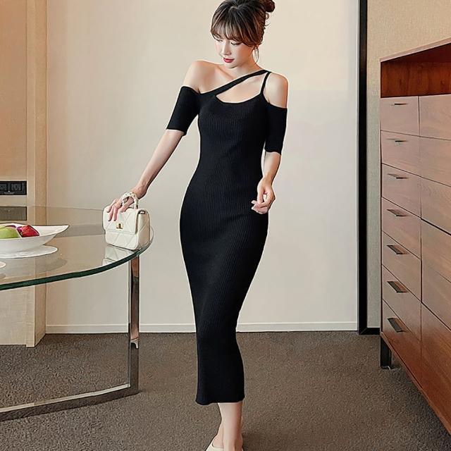 【女神婚紗禮服店】黑色針織不對稱吊帶短袖洋裝 提貨券(黑色針織洋裝 小禮服 婉約)
