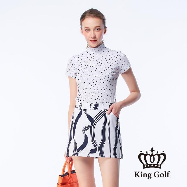 【KING GOLF】女款滿版星星印花線條撞色印圖涼感小立領上衣(白色)