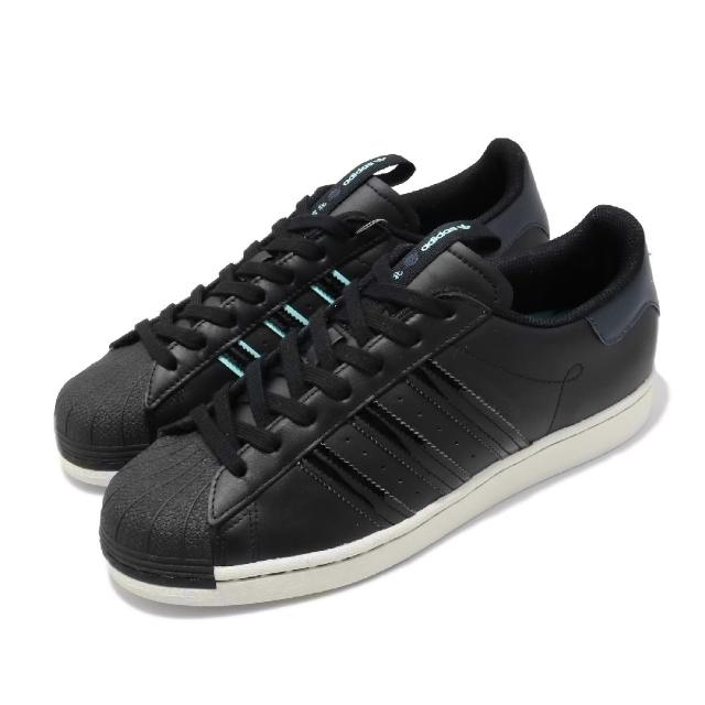 【adidas 愛迪達】休閒鞋 Superstar 復古 低筒 男鞋 愛迪達 三葉草 皮革鞋面 貝殼頭 穿搭 黑 藍(FW3924)