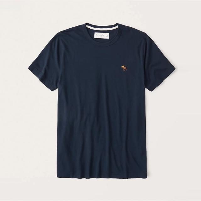 【Abercrombie & Fitch】A&F 經典圓領刺繡彩小鹿素面短袖T恤-深藍色