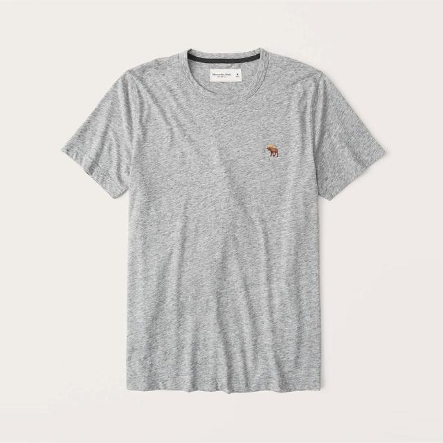 【Abercrombie & Fitch】A&F 經典圓領刺繡彩小鹿素面短袖T恤-灰色
