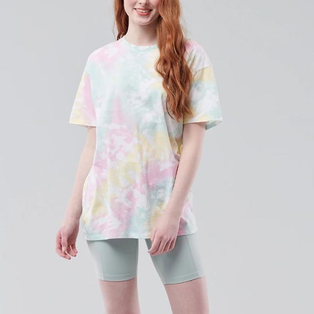 【HOLLISTER Co】Hollister 渲染印刷設計OverSize寬鬆舒適短袖T恤-女-渲染色(居家 寬鬆 運動)