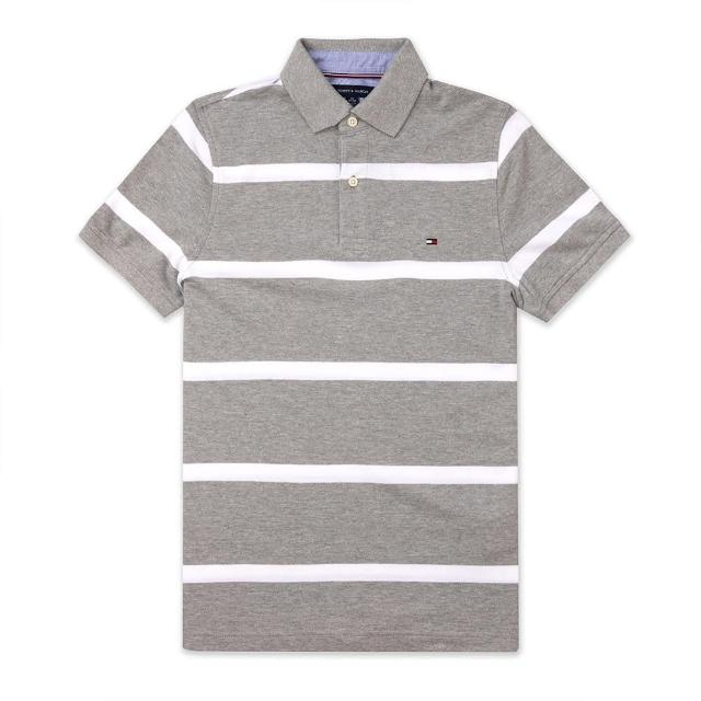【Tommy Hilfiger】TOMMY 經典刺繡Logo短袖Polo衫-灰白條紋色