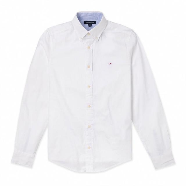 【Tommy Hilfiger】TOMMY 經典刺繡Logo長袖襯衫-白色