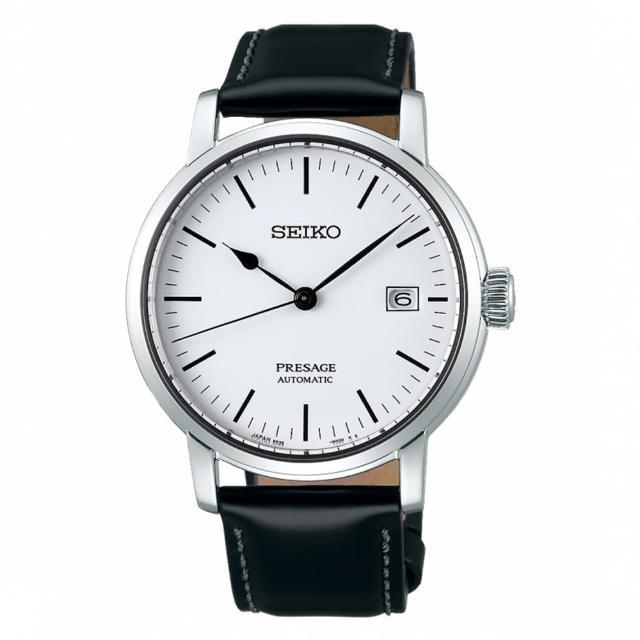 【SEIKO 精工】琺瑯工藝機械腕錶/透視背蓋/40mm/白(SPB113J1)