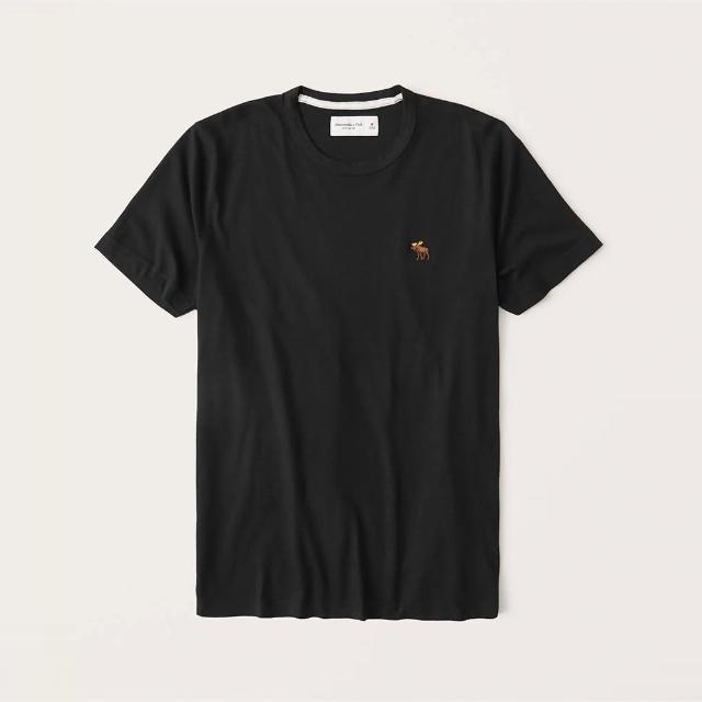 【Abercrombie & Fitch】A&F 經典圓領刺繡彩小鹿素面短袖T恤-黑色