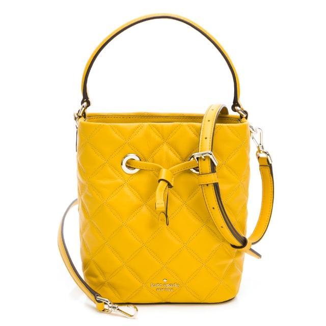 【KATE SPADE】菱格紋水桶包(黃色)