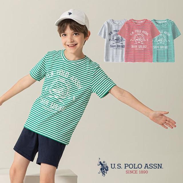 【U.S. POLO ASSN.】男童細條紋T恤-多色任選(熱銷經典)