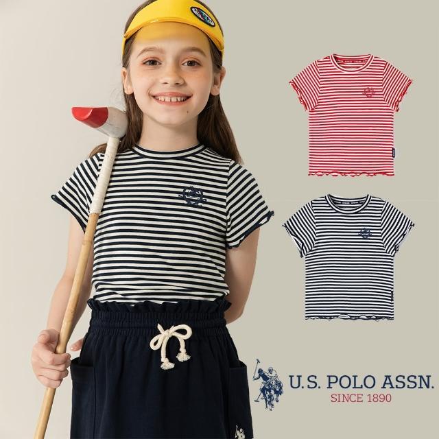 【U.S. POLO ASSN.】女童間條圓領T恤-兩色(熱銷經典)