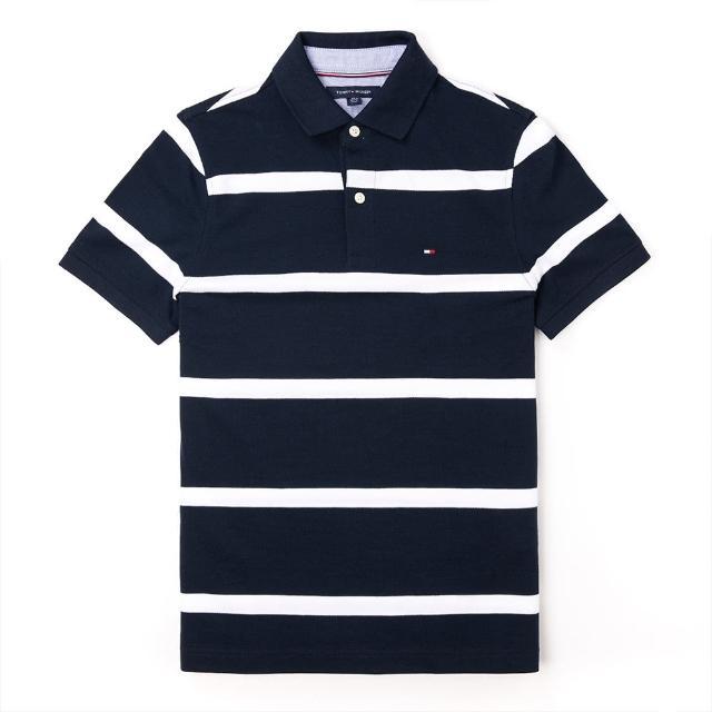【Tommy Hilfiger】TOMMY 經典刺繡Logo短袖Polo衫-深藍白條紋色
