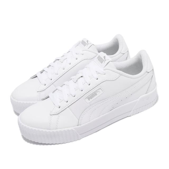 【PUMA】休閒鞋 Carina Crew 女鞋 皮革鞋面 基本款 百搭 穿搭推薦 上學 白(37490302)