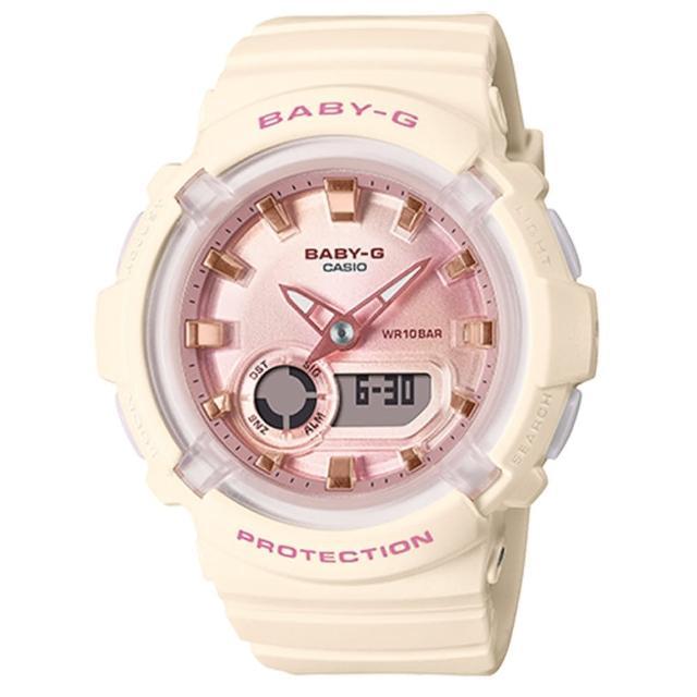 【CASIO 卡西歐】Baby-G LA街頭設計 金屬光感雙顯手錶-象牙粉(BGA-280-4A2)